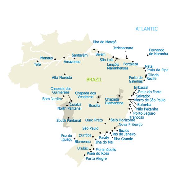 All Travel Regions in Brazil - Map