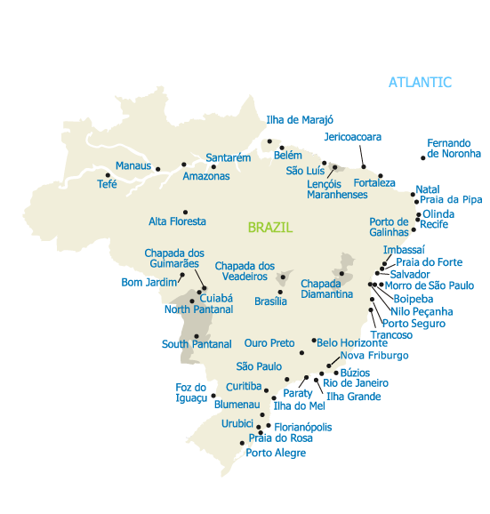 All Travel Regions in Brazil - Map