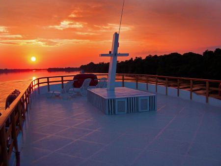 Sun deck on an Amazon cruise ship