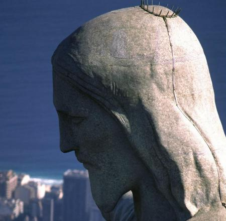 Head of the statue of Christ in Rio