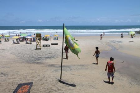 Brazilian flag on the beach