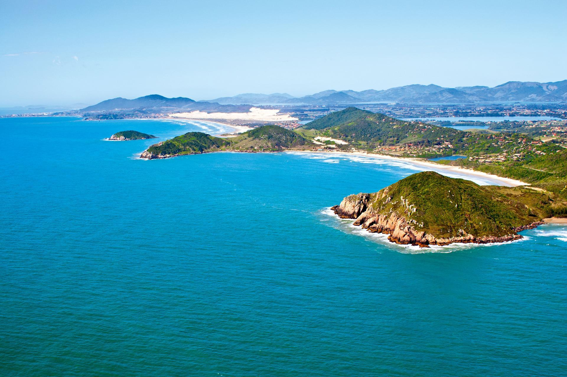 A view of Praia do Rosa from the air.
