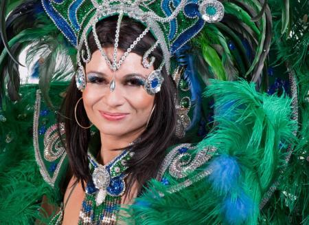 Splendidly dressed samba dancer in Rio de Janeiro