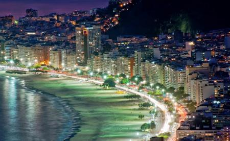 Rio's Copacabana beach at night and illuminated