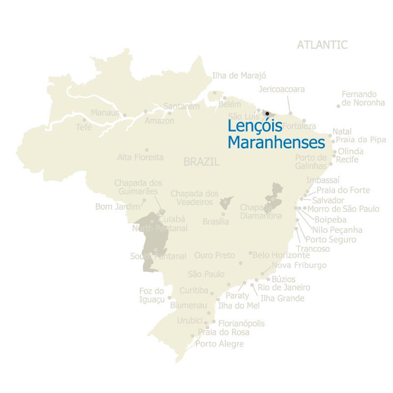 Brazil Map Lencois Maranhenses