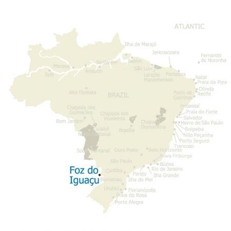 Map of Foz do Iguacu and Brazil