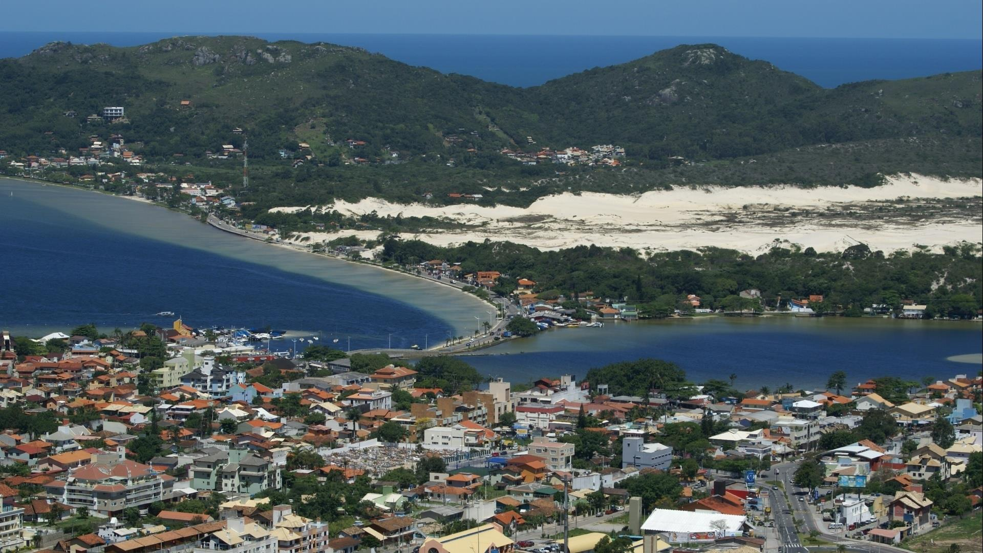Aerila view on the lagoons ans dunes of Florianopolis, in South Brazil