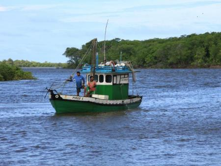 Fishing boat on the Rio Preguicas near Cabure