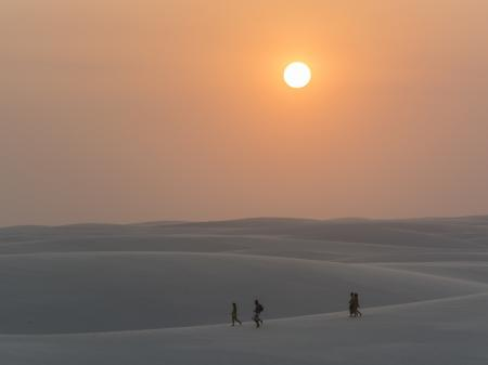 Colorful sunset in the dunes of the Lencois Maranhenses