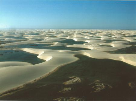 Water-filled lagoons in the Lencois Maranhenses