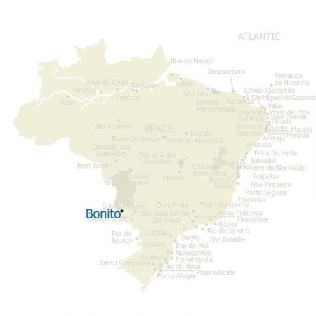 Map of Bonito and Brazil