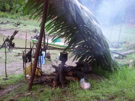 Simple kitchen with primitive rain protection