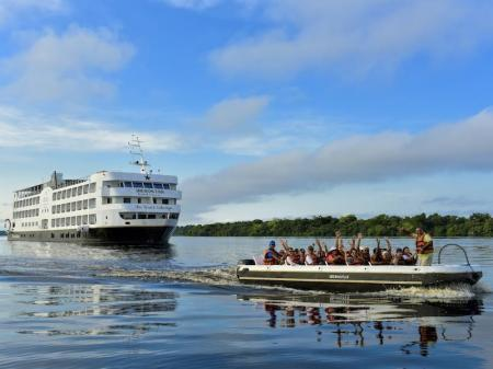 A boat excursion leaving the Iberostar Grand Amazon