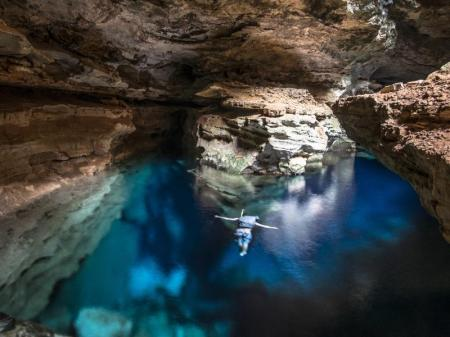 Cave with refreshing blue water in the hiking paradise Chapada Diamantina