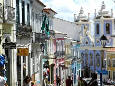 Colorful alleys and squares of the old town of Salvador