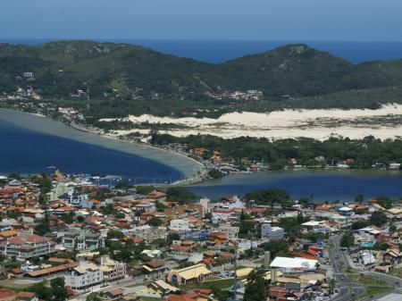 Aerial view ib the lagoon and the sea around Florianopolis