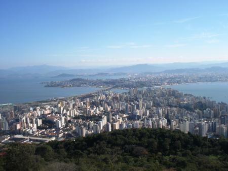 Aerial view over Florianopolis in the south of Brazil