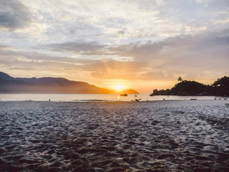 Sunset on the beach of Ilha Grande