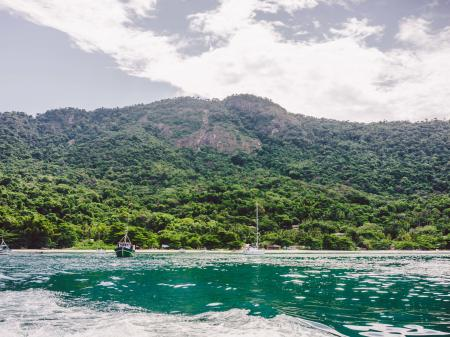 The green sea in front of the lush green mountains of the Atlantic Rainforest of Ilha Grande