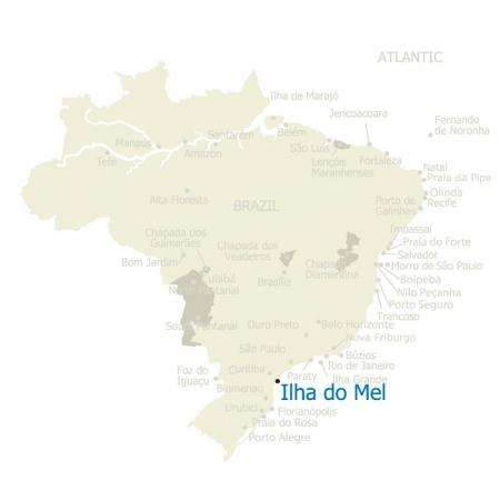 Map of Ilha do Mel and Brazil