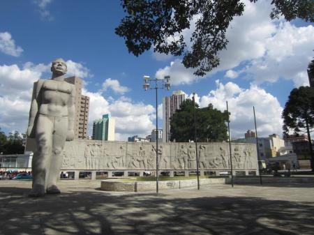 Plaza 19 de Dezembro and its monuments in Curitiba, the capital of the southern state of Parana