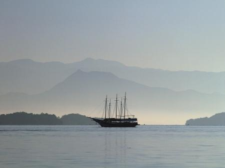 A view from the sea over the Mountains of Paraty