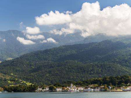 View on the colonial part of town from the sea, with Atlantic Rainforest in the background