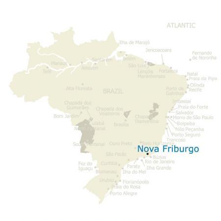 Map of Brazil and Nova Friburgo in the state of Rio de Janeiro