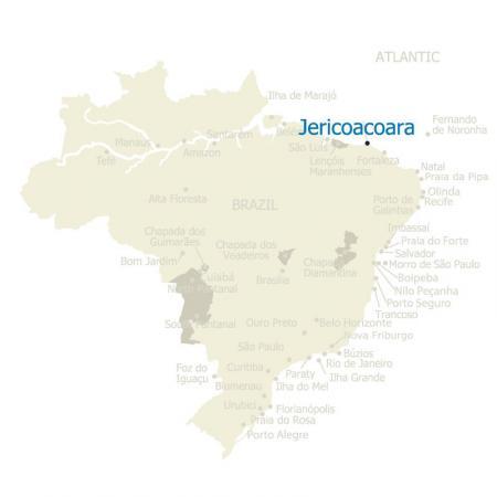 Map of Jericoacoara and Brazil