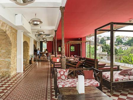 Outdoor lounge at Hotel Santa Teresa in Rio de Janeiro, Brazil