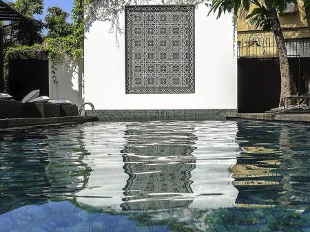 Pool area of Hotel Santa Teresa in Rio de Janeiro, Brazil