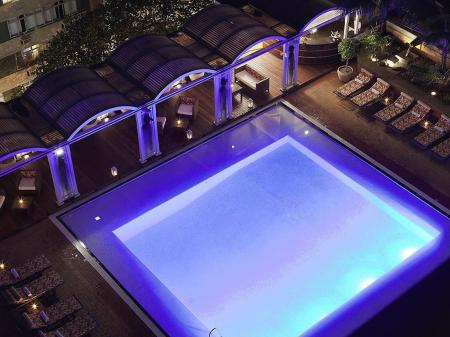 Rooftop pool with sea view at Hotel Sofitel Rio de Janeiro in Copacabana, Brazil
