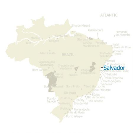 Map of Salvador and Brazil