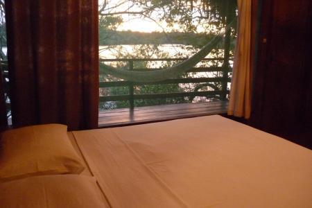 Amazon Juma Lodge: Example of a Double room with outdoor balcony and hammock