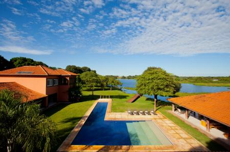 Aerial view on the pool, facilities and the river at Caiman Lodge