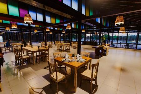 The modern restaurant at Santa Rosa Lodge in the northern Pantanal, Brazil