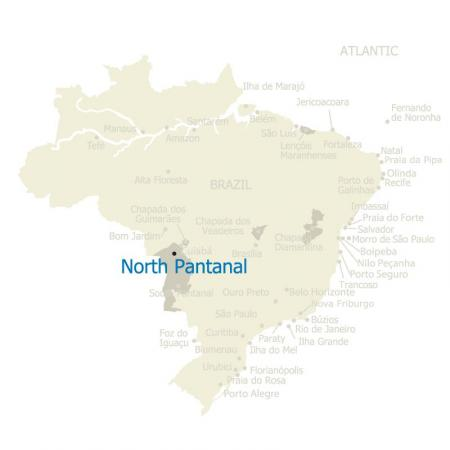 Map of North Pantanal and Brazil