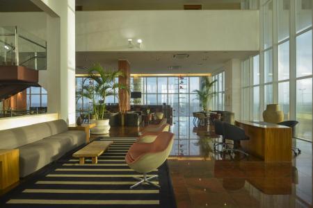 Lobby with seaview and modern design at Hotel Luzeiros in Sao Luis do Maranhao, Brazil