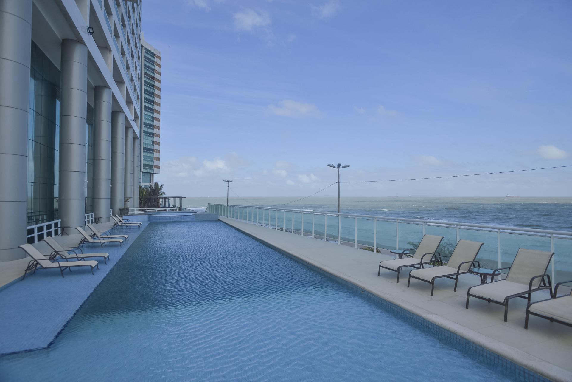 Pool with seaview at Hotel Luzeiros in Sao Luis do Maranhao, Brazil