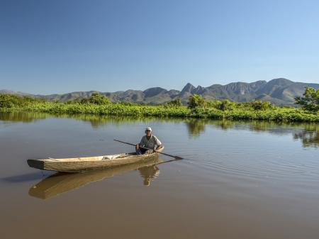 Man in a boat in the South Pantanal