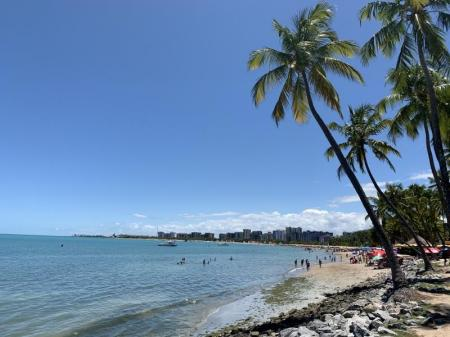 View of the long stretched beach of Maceio with coconut palms and visitors at the beach