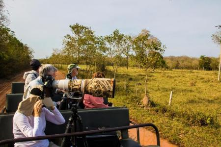 Visitors on a fotos safari by jeep in the southern Pantanal