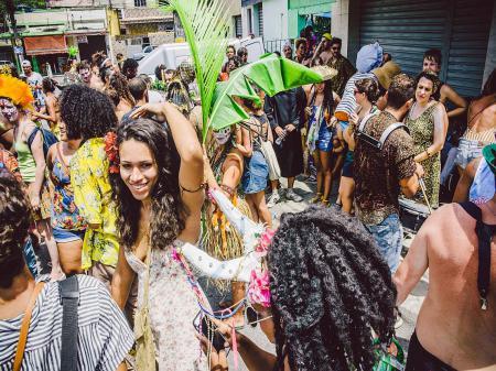 Colorful Carnival street processions in Rio