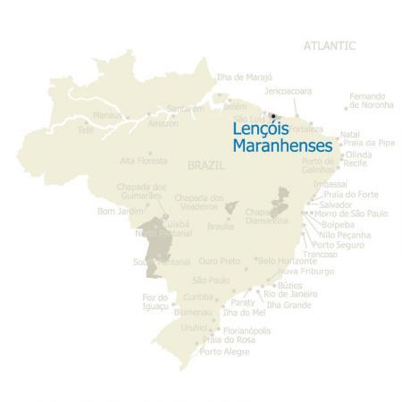 Map of Lencois Maranhenses and Brazil