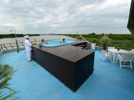 View of the pool on the upper deck of Yacht Millenium