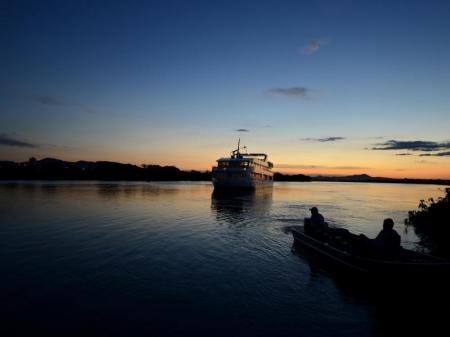 Enjoying the sunset on Yacht Millenium