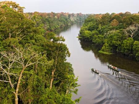 River in the Amazon with expedition boats